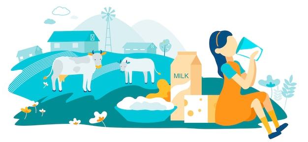 Ilustração lisa do vetor da exploração agrícola da família da vaca de leiteria.