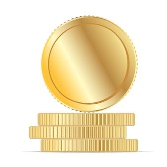 Ilustração lisa do vetor da pilha do dinheiro da moeda de ouro.