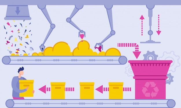 Ilustração lisa do vetor da planta de reciclagem de resíduos.