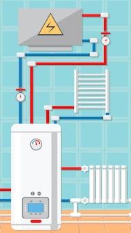 Ilustração lisa do vetor do conceito da sala de caldeira
