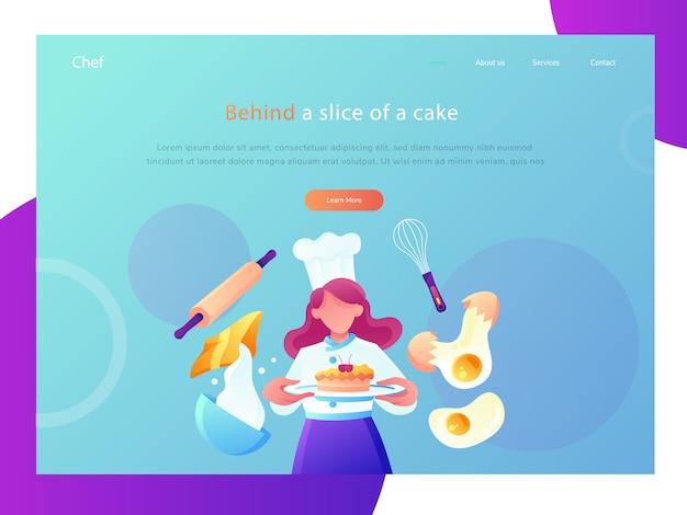 Ilustração lisa do web site do cozinheiro chefe do restaurante
