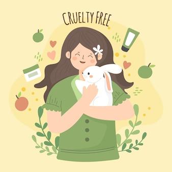 Ilustração livre de crueldade e vegana desenhada à mão com uma mulher segurando um coelho