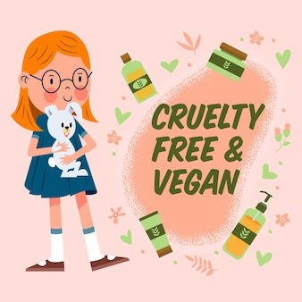 Ilustração livre de crueldade e vegana desenhada à mão