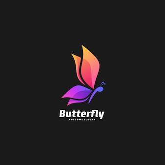 Ilustração logotipo borboleta elegante gradiente estilo colorido