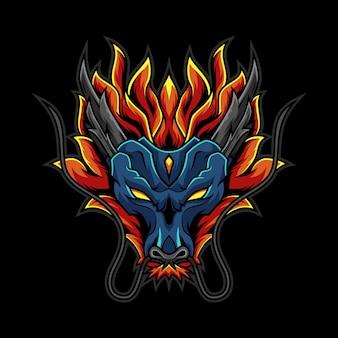 Ilustração logotipo cabeça dragão fogo
