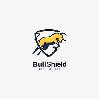 Ilustração logotipo escudo touro estilo mascote simples