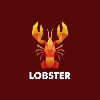 Ilustração logotipo estilo low poly lagosta