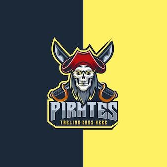 Ilustração logotipo estilo piratas e esportes