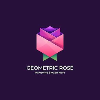 Ilustração logotipo flor rosa abstrata forma geométrica em estilo colorido