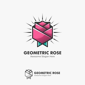 Ilustração logotipo flor rosa abstrata forma geométrica na linha arte para colorir