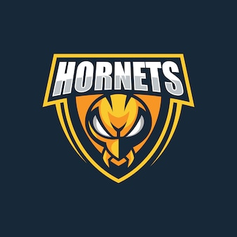 Ilustração logotipo hornets e esportes distintivo estilo
