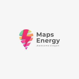 Ilustração logotipo mapas energia estilo colorido