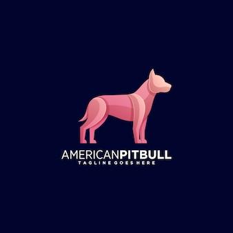 Ilustração logotipo pit bull estilo colorido gradiente