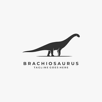 Ilustração logotipo pose brontossauro estilo silhueta