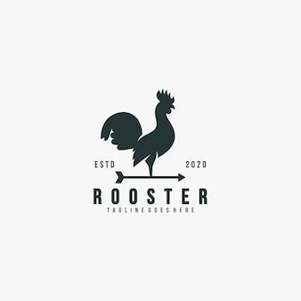 Ilustração logotipo pose galo estilo vintage