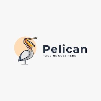 Ilustração logotipo pose pelicano estilo mascote simples