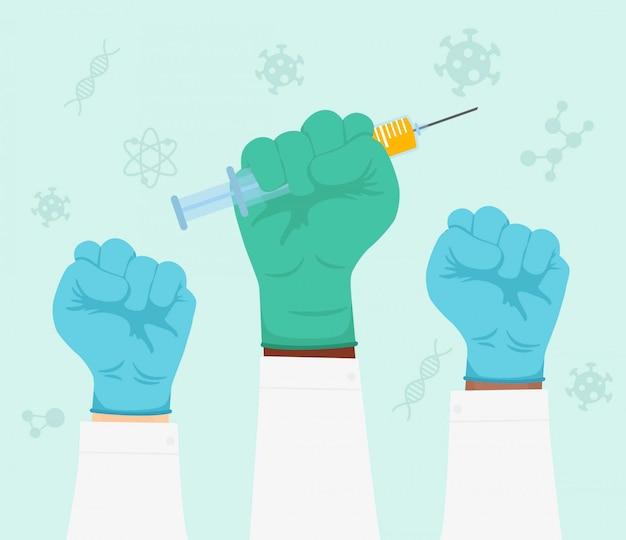Ilustração luta para encontrar a cura, mãos médicas