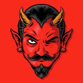 Ilustração má do diabo vermelho