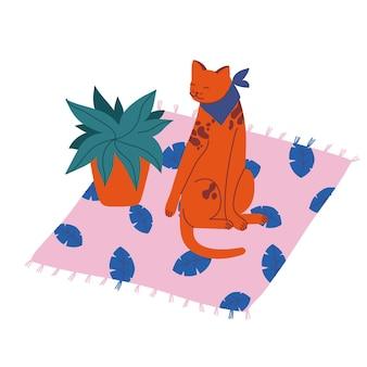 Ilustração manchado gato sentado no tapete perto de um vaso de flores.
