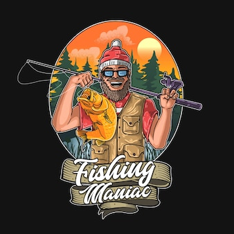 Ilustração maníaca de pesca