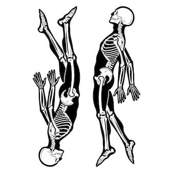 Ilustração manuscrita de ossos em preto e branco