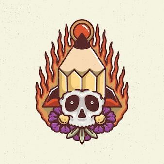Ilustração mão desenhando com arte de linha áspera, conceito do espírito de criatividade. cabeça de esqueleto desenhando com lápis, flor e fogo