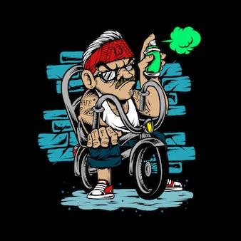 Ilustração mão desenho gangster de bicicleta