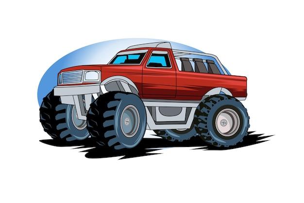 Ilustração mão desenho monster truck car.