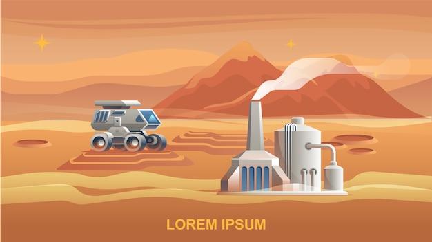 Ilustração mars colonization first astronaut