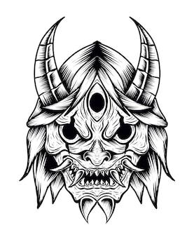 Ilustração máscara de demônio japonês