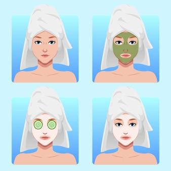 Ilustração máscara facial para cuidados com a pele de mulher