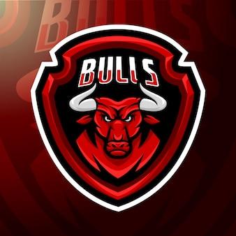 Ilustração mascote touros com raiva.