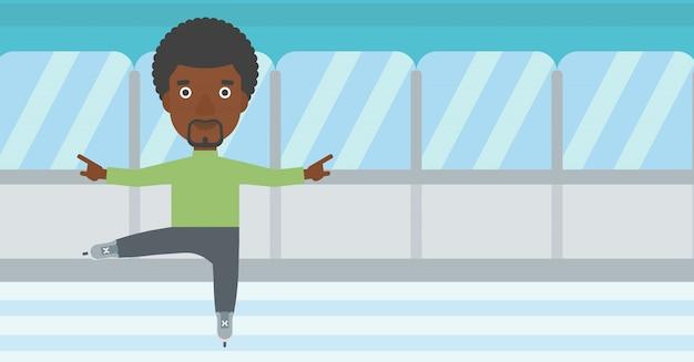 Ilustração masculina do vetor do patinador artística.