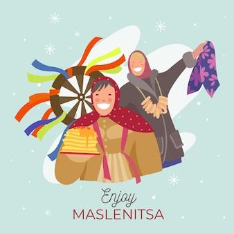 Ilustração maslenitsa em design plano