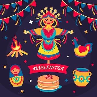 Ilustração maslenitsa plana