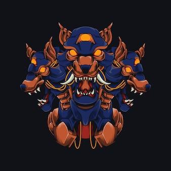 Ilustração mecha cão de três cabeças cyberpunk cão doberman cerberus projeto de camisa com tema de robô