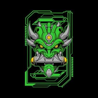 Ilustração mecha oni verde