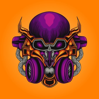 Ilustração mecha robotic skull