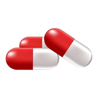 Ilustração médica com pílulas ou medicamentos em um fundo branco
