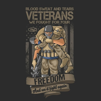 Ilustração memorial de honra de soldado veteranos