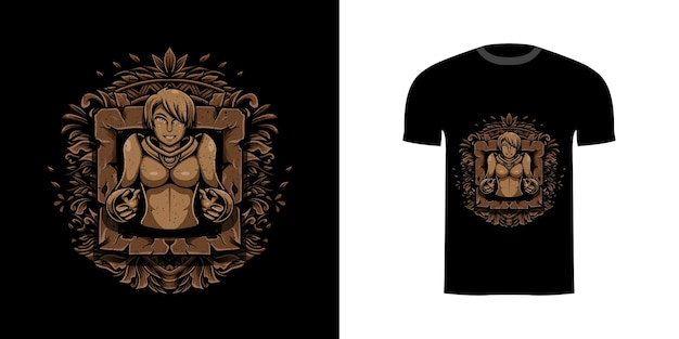 Ilustração menina com gravura ornamento para design de camiseta