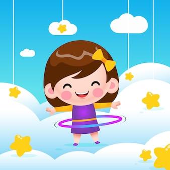 Ilustração menina fofa brincando de bambolê na nuvem