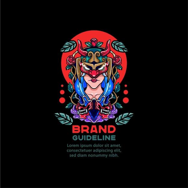 Ilustração menina mulher gueixa para camiseta Vetor Premium