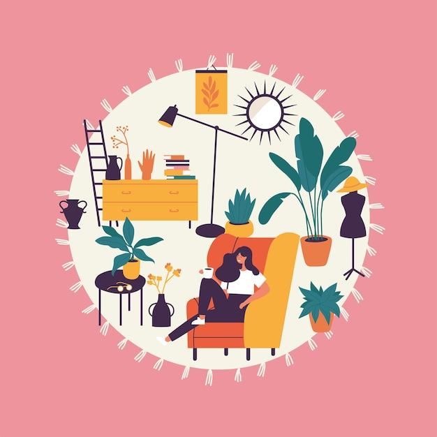Ilustração menina sentada e descansando na poltrona com uma xícara de café.