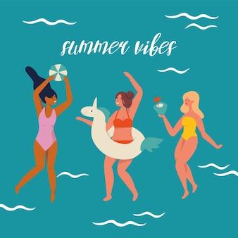 Ilustração meninas vestindo maiô e se divertindo com coquetel de coco vibrações de verão