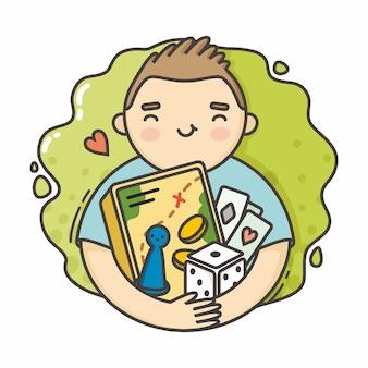 Ilustração menino com jogos de tabuleiro