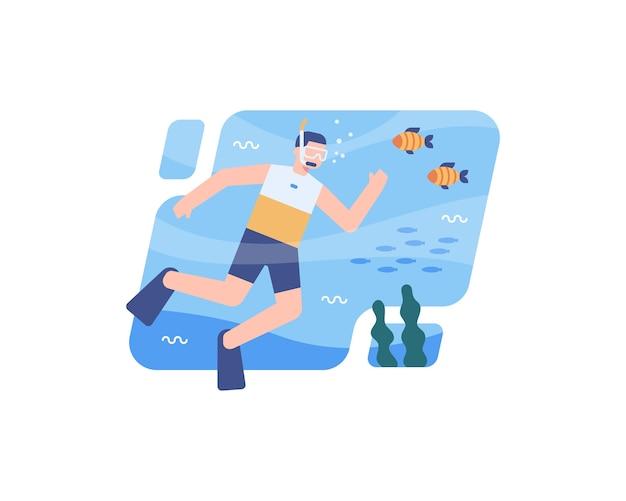 Ilustração mergulhe no mar