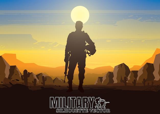 Ilustração militar, fundo do exército, silhuetas de soldados, feliz dia dos veteranos.