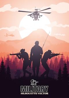 Ilustração militar, fundo do exército, silhuetas de soldados.