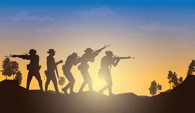 Ilustração militar, fundo do exército.